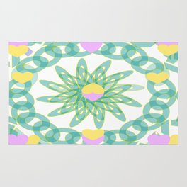 Tropical Pastel Hearts Rug