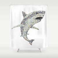 shark Shower Curtains featuring Shark by Vixxen