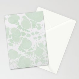 Ebru Paper Marbling Pastel Green Paint Spill Bubbles Stationery Cards