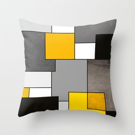 Black Yellow and Gray Geometric Art Throw Pillow