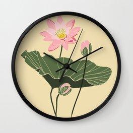 Lotos botanical illustartion Wall Clock