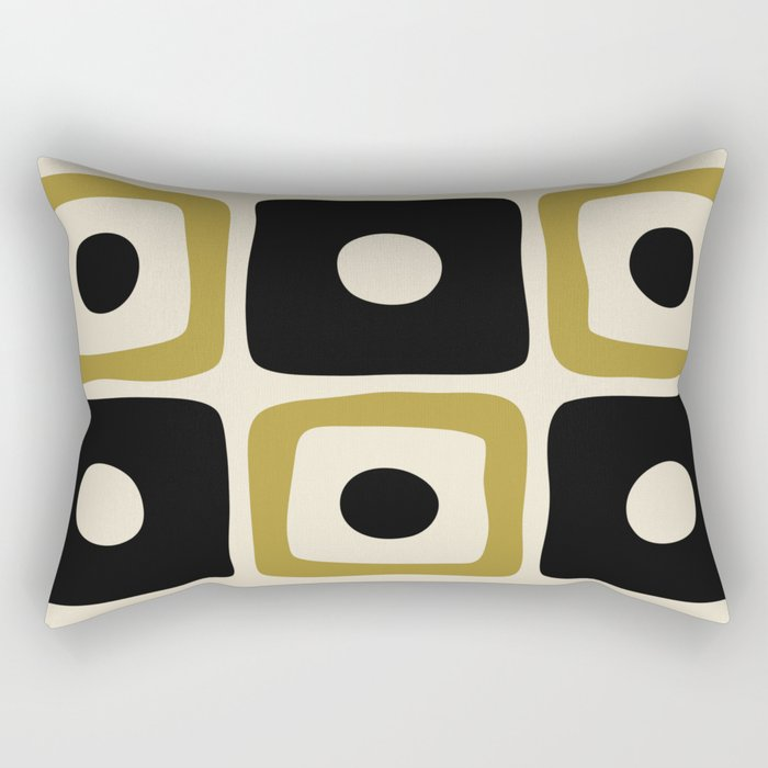 Mid Century Modern Square Dot Pattern 592 Black and Gold Rectangular Pillow
