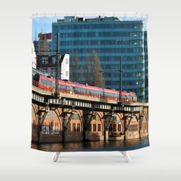 RED TRAIN - BERLIN Shower Curtain