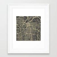 kansas city Framed Art Prints featuring Kansas City map by Map Map Maps