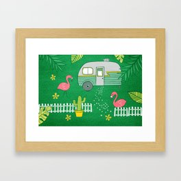 Campsite Flamingos Framed Art Print