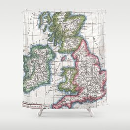 Vintage Map of British Isles (1780) Shower Curtain