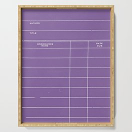 Library Card BSS 28 Negative Purple Serving Tray