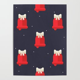 Red Christmas Bell Pattern Poster