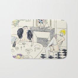 Brunch vintage nude hand colored blonde female male dining Bath Mat