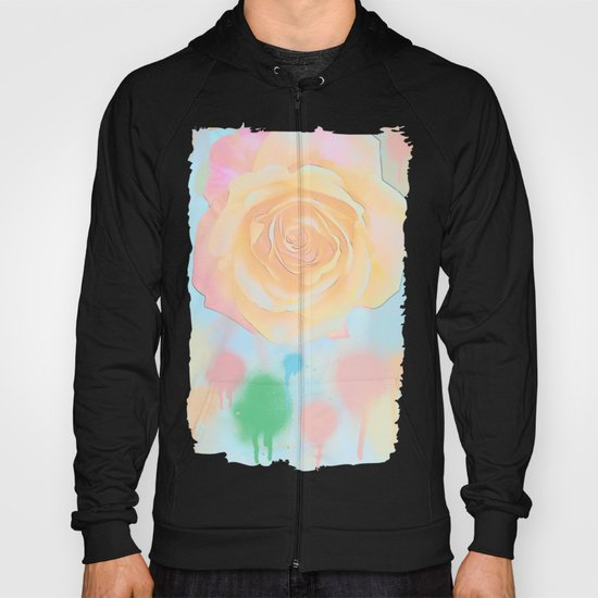 Pastel roses on an abstract water colour background Hoody