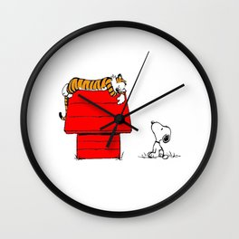 Calvin And Hobbes Tiger Sleep On Doghouse Wall Clock