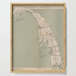 Vintage Map of Lower Cape Cod (1891) Serving Tray
