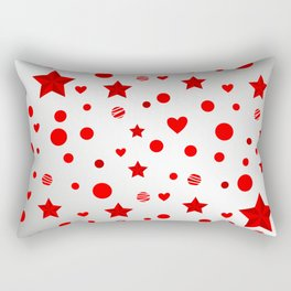 Red star, dot, heart Rectangular Pillow