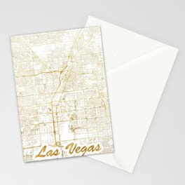 Las Vegas Map Gold Stationery Cards