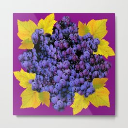 Succulent Purple Vineyard Grapes & Grape Leaves Art Metal Print