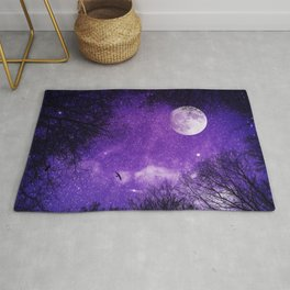 Nightsky with Full Moon in Ultra Violet Rug