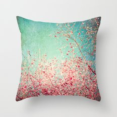 Blue Autumn, Pink leafs on blue, turquoise, green, aqua sky Throw Pillow
