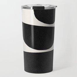 Abstract black shapes art, Mid century modern art Travel Mug