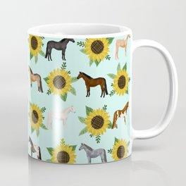 Horse, sunflowers, sunflowers, flowers, flower, mint, horses, cowgirl, texas Coffee Mug