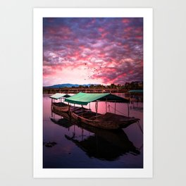 Sunset Boat Water (Color) Art Print