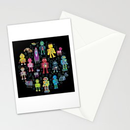 Robots in Space - on black Stationery Cards