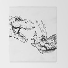 T-Rex Vs Triceratops Throw Blanket