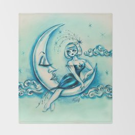Girl on the Moon Throw Blanket