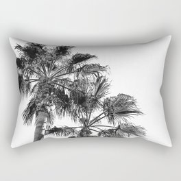B&W Palm Tree Print | Black and White Summer Sky Beach Surfing Photography Art Rectangular Pillow