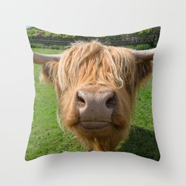 Highland cow nose Throw Pillow