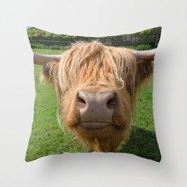 Highland cow nose Throw Pillow