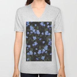Blue Dark Floral Garden: Forget-me-nots Unisex V-Neck