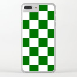 Large Checkered - White and Dark Green Clear iPhone Case