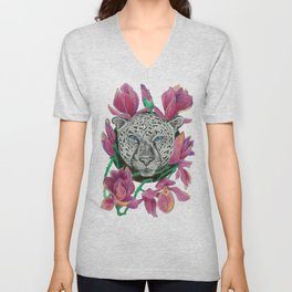 Snow panther hidden in magnolias Unisex V-Neck