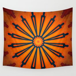 Rich Orange And Navy Blue Flower Mandala Wall Tapestry