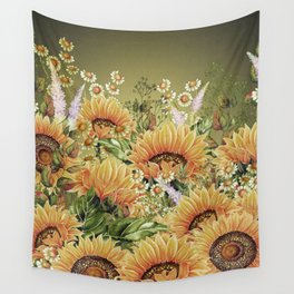 Vintage Garden 5 (Sunflower Field) Wall Tapestry