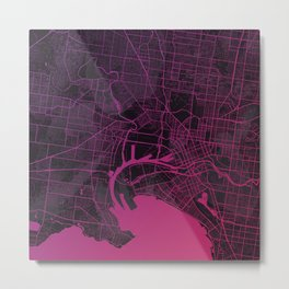Melbourne Map in Pink Metal Print