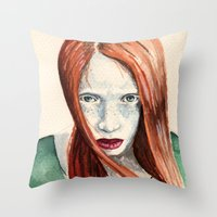 ginger Throw Pillows featuring Ginger by Roxie Emm