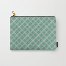 Christmas Green Holly and Ivy Tartan Check Plaid Carry-All Pouch