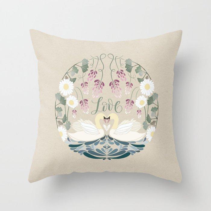 Folk Art - Lovely Swan in Love Throw Pillow