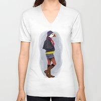 puffin V-neck T-shirts featuring Puffin by Dyna Moe