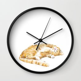 Tabby Cat Painting Wall Clock