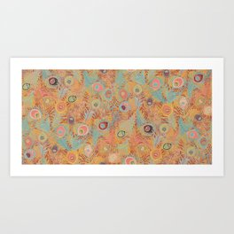 Peacock Feathers in Soft Coral Art Print