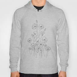 Poppy Flowers Line Art Hoody