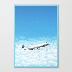Plane through clouds Canvas Print