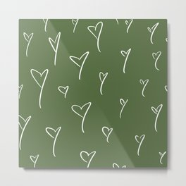 Green Hearts Metal Print