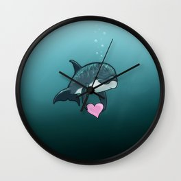 """Love Ya"" by Amber Marine ~ Toon Baby Dolphin Art, (Copyright 2014) Wall Clock"