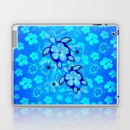Tropical Hibiscus Flowers And Honu Turtles Laptop & iPad Skin
