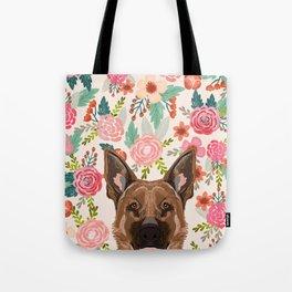German Shepherd florals flowers spring pet portrait dog art funny german shepherd painting art Tote Bag