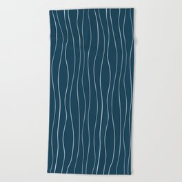 White Curving Lines Beach Towel