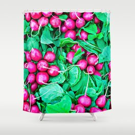 Red radishes and green leaves Shower Curtain